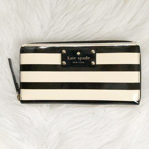 KATE SPADE Black Cream Accordion Striped Wallet